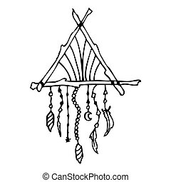 Hand drawn doodles boho, tribal design element with dream...