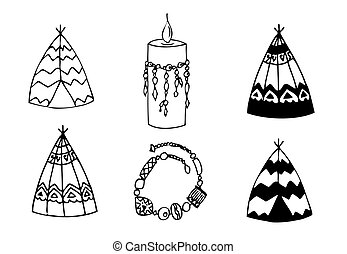 Hand drawn doodles boho, tribal design element with teepee,...