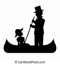 Man and Woman Riding a Canoe Silhouette
