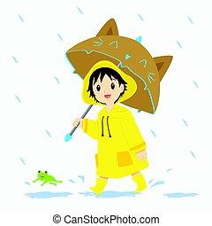 Little Boy Walking Under the Rain