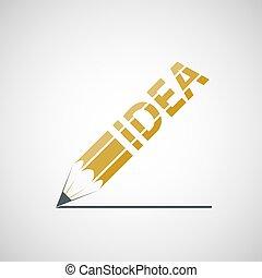 Logo pen with the inscription idea. Vector image.