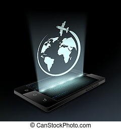 Icon plane. Hologram. - Icon plane on the screen smartphone....