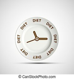 Plate as a clock and the words diet. Vector image.