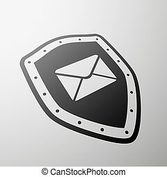 Envelope. Stock illustration. - Envelope on the shield....