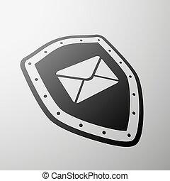 Envelope. Stock illustration. - Envelope on the shield....
