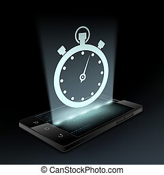 Stopwatch icon. Hologram. - Stopwatch icon on the screen a...