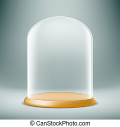 glass dome. Stock illustration. - Transparent glass dome. On...