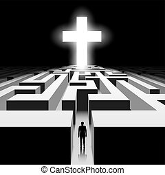 White Cross. Stock illustration. - Dark labyrinth with...