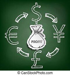 Diagram currencies. Stock illustration.