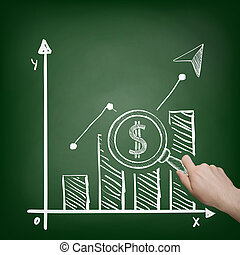 Financial chart. Stock illustration. - Businessman holding a...