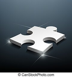 Part of the puzzle lies on a blue background. Stock Vector.
