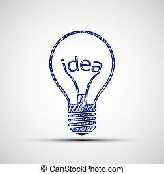 Bulb with the word idea.