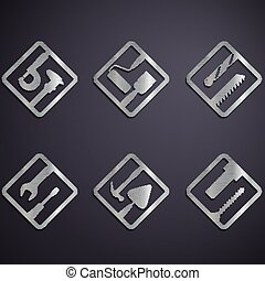 industrial tools. Stock illustration. - Set of metal icons...