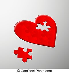 Human heart. Stock illustration. - Human heart of the pieces...