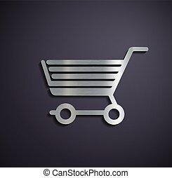 Flat metallic logo shopping cart.