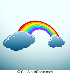 Rainbow. Stock illustration. - Rainbow with clouds in the...