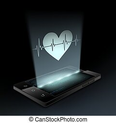 Icon heart on the screen