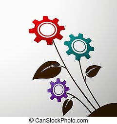 Industrial. Stock illustration. - Plant with the gears....