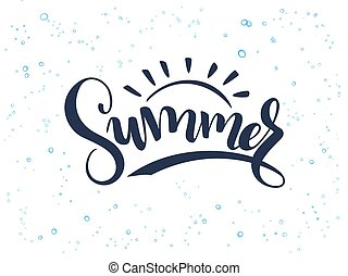 vector hand lettering summer text about sea with doodle...
