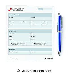 sample form mock-up - Vector illustration of detailed blue...
