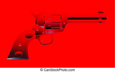Hot Faded Six Gun - A wild west red hot six gun isolated...