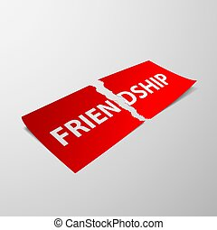 friendship. Stock illustration. - Torn sheet of paper with...