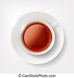 White cup of tea. - White cup of brown tea. Vector image.