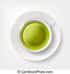 White cup of green tea.