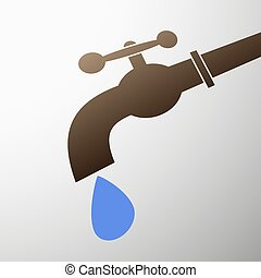 tap with a drop - Emblem tap with a drop of water. Stock...