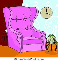 cartoon armchair - illustration of a pink cartoon armchair...