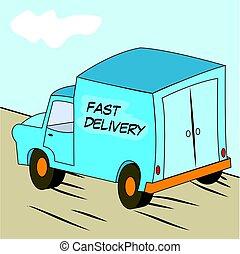 transport or delivery van - Vector illustration of a blue...