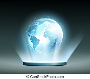 Global network. Hologram. - Planet Earth and Global network....