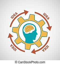 Human head. Stock illustration. - Human head with the brain...