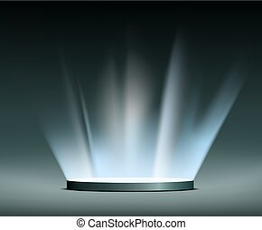Rays of light. Hologram. - Round pedestal and Rays of light....
