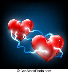 two hearts. Stock illustration.