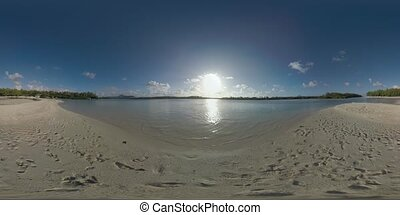 360 VR Scene with ocean and sandy beach in Mauritius - 360...