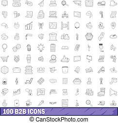 100 b2b icons set, outline style - 100 b2b icons set in...