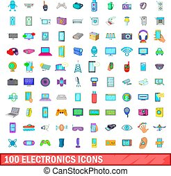 100 electronics icons set, cartoon style