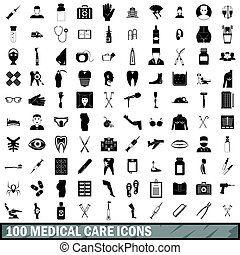100 medical care icons set, simple style - 100 medical care...