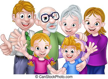 Cartoon Kids Parents and Grandparents - Cartoon happy three...