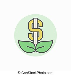 Colorful dollar icon - vector creative money flower concept...