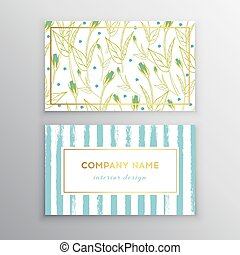 Set of vector business card templates with brush stroke and flowers background.