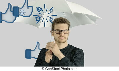 Human person man who do not like social network, social...