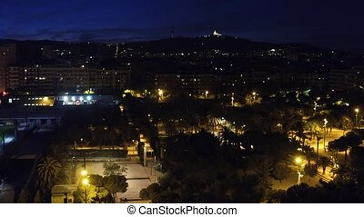 Barcelona cityscape at night, Spain.