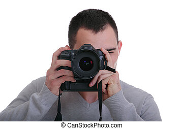 Portrait of male photographer with cameras isolated on white...