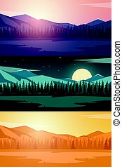 Set of Nature mountains landscape. Rocky mountains and pine...