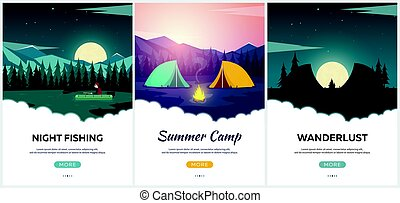 Summer camp. Evening Camp, Pine forest and rocky mountains....