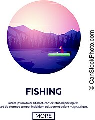 Fishing on a mountain lake. Sunset in the mountains.