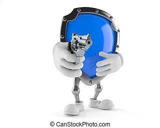 Shield character aiming a gun