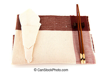 Table cloth - table cloth with serviette and chop sticks